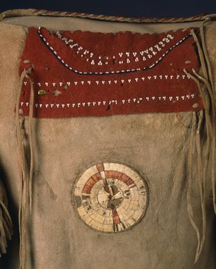 Sioux. <em>Shirt</em>, early 19th century. Buckskin, Stroud cloth, pony beads, seed beads, yarn, porcupine quills, maidenhair fern stems, bird quills, pigment, metal sequin, 42in. (106.7cm). Brooklyn Museum, Henry L. Batterman Fund and the Frank Sherman Benson Fund, 50.67.8. Creative Commons-BY (Photo: Brooklyn Museum, 50.67.8_front_SL4.jpg)
