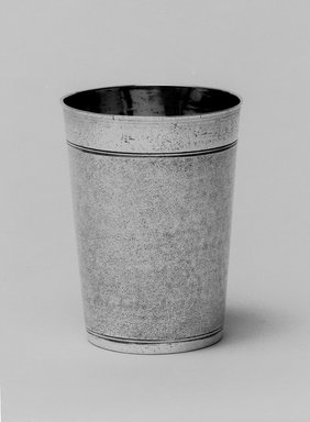 I.F. Hornung (died ca. 1765). <em>Kiddush Wine Cup</em>, 17th century. Silver, 4 1/16 x 3 1/16 x 3 1/16 in. (10.3 x 7.8 x 7.8 cm). Brooklyn Museum, Gift of Mrs. Herbert Sterzelbach, 50.8. Creative Commons-BY (Photo: Brooklyn Museum, 50.8_bw.jpg)