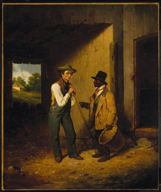 Francis William Edmonds (American, 1806-1863). <em>All Talk and No Work</em>, 1855-1856. Oil on canvas, 24 1/16 x 19 13/16 in. (61.1 x 50.3 cm). Brooklyn Museum, Carll H. de Silver Fund, 51.108 (Photo: Brooklyn Museum, 51.108_SL1.jpg)