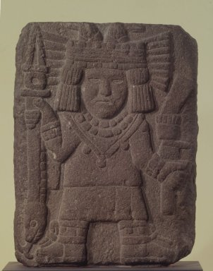 Aztec. <em>Relief with Maize Goddess (Chicomecóatl)</em>, 1440-1521. Stone, 15 1/2 x 11 3/4 x 3 3/8 in. (39.4 x 29.8 x 8.6 cm). Brooklyn Museum, A. Augustus Healy Fund, 51.109. Creative Commons-BY (Photo: Brooklyn Museum, 51.109.jpg)