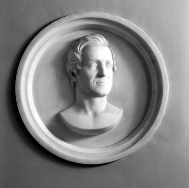 Hiram S. Powers (American, 1805-1873). <em>Elisha Litchfield</em>, 1866. Marble, 23 11/16 x 23 11/16 x 3 7/16 in. (60.2 x 60.2 x 8.7 cm). Brooklyn Museum, Gift of Marion Litchfield, 51.112.13. Creative Commons-BY (Photo: Brooklyn Museum, 51.112.13_cropped_acetate_bw.jpg)