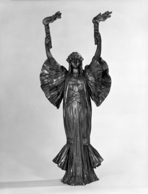 Unknown. <em>Figure of Standing Lady</em>, ca. 1900. Cast bronze, 24 1/4 x 10 3/4 in. (61.6 x 27.3 cm). Brooklyn Museum, Gift of Marion Litchfield, 51.112.14. Creative Commons-BY (Photo: Brooklyn Museum, 51.112.14_front_bw.jpg)