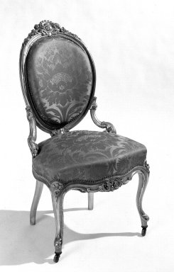 <em>Side Chair</em>, 1840-1845. Gessoed and gilded beechwood, silk Brooklyn Museum, Gift of Marion Litchfield, 51.112.6. Creative Commons-BY (Photo: Brooklyn Museum, 51.112.6_bw.jpg)