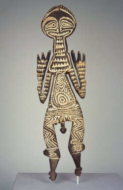 Purari. <em>Figure (Bioma)</em>, early 20th century. Wood, natural pigments, 25 x 7 1/4 x 1 1/2 in. (63.5 x 18.4 x 3.8 cm). Brooklyn Museum, Gift of John W. Vandercook, 51.118.8. Creative Commons-BY (Photo: Brooklyn Museum, 51.118.8.jpg)
