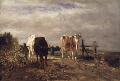Constant Troyon (French, 1810-1865). <em>Returning Herd</em>, ca. 1852-1863. Oil on cradled panel, 19 3/4 x 28 3/4 in. (50.2 x 73 cm). Brooklyn Museum, Gift of Charlotte R. Stillman, 51.12 (Photo: Brooklyn Museum, 51.12.jpg)
