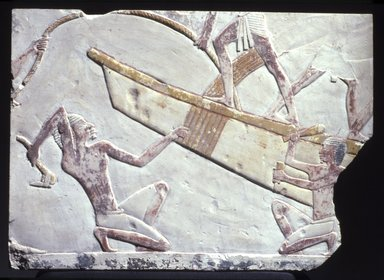 <em>Boat-Building Scene</em>, ca. 664-634 B.C.E. Limestone, pigment, 7 5/8 x 10 5/8 in. (19.4 x 27 cm). Brooklyn Museum, Charles Edwin Wilbour Fund, 51.14. Creative Commons-BY (Photo: Brooklyn Museum, 51.14.jpg)