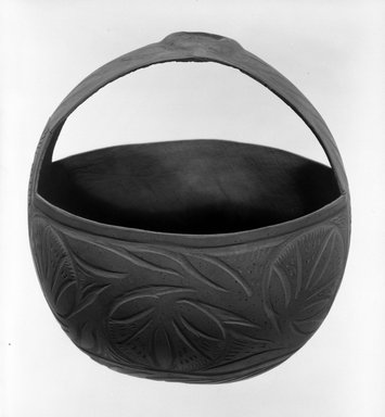 Solomon Islander. <em>Basket and Handle</em>. Gourd, 5 7/8 × 5 1/2 in. (15 × 14 cm). Brooklyn Museum, Gift of John W. Vandercook, 51.140.20. Creative Commons-BY (Photo: Brooklyn Museum, 51.140.20_bw.jpg)