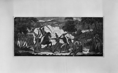Nathaneil Dearborn (American, 1786-1852). <em>A View of Col. Jonson's Engagement with the Savages (Commanded by Tecumseh, near the Moravian Town, October 5, 1812)</em>, 19th century. Woodcut (with 20th century coloring) on wove paper, Image: 5 7/8 x 13 1/4 in. (15 x 33.6 cm). Brooklyn Museum, Dick S. Ramsay Fund, 51.145 (Photo: Brooklyn Museum, 51.145_acetate_bw.jpg)