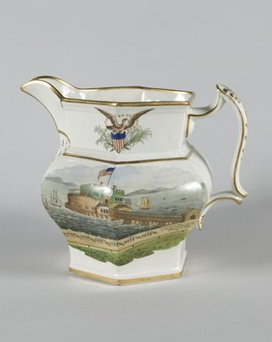 <em>Pitcher</em>, ca.1850. Earthenware, 8 1/2 in. (21.6 cm). Brooklyn Museum, Gift of Arthur W. Clement, 51.156.3. Creative Commons-BY (Photo: Brooklyn Museum, 51.156.3_PS5.jpg)
