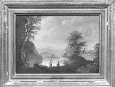 American. <em>Hudson River and Indians, Fishkill</em>, ca 1820s-1830s. Oil on canvas, 10 3/16 x 14 3/16 in. (25.8 x 36 cm). Brooklyn Museum, Gift of Mary van Kleeck in memory of Charles M. van Kleeck, 51.193.2 (Photo: Brooklyn Museum, 51.193.2_acetate_bw.jpg)