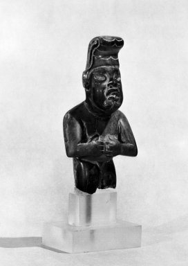 Olmec. <em>Male Figurine</em>, ca. 800-500 BCE. Jadeite, cinnabar, 2 x 3/4 x 3 1/2 in. (5.1 x 1.9 x 8.9 cm). Brooklyn Museum, Gift of Mr. and Mrs. Alastair Bradley Martin, 51.197.2. Creative Commons-BY (Photo: Brooklyn Museum, 51.197.2_bw.jpg)