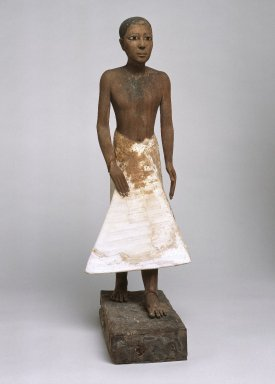 <em>Statue of Metjetji</em>, ca. 2371-2288 B.C.E. Wood, gesso, pigment, alabaster, obsidian, copper alloy, Height: 24 1/4 in. (61.6 cm). Brooklyn Museum, Charles Edwin Wilbour Fund, 51.1. Creative Commons-BY (Photo: Brooklyn Museum, 51.1_view1_SL1.jpg)