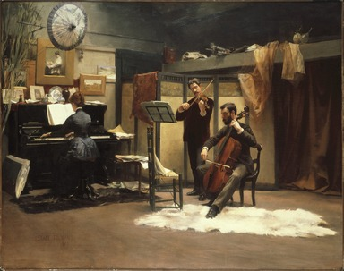Stacy Tolman (American, 1860-1935). <em>The Musicale</em>, 1887. Oil on canvas, 36 1/4 x 46 in. (92 x 116.9 cm). Brooklyn Museum, Dick S. Ramsay Fund, 51.211 (Photo: Brooklyn Museum, 51.211_SL1.jpg)