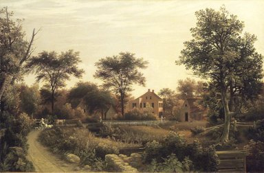 Samuel Lancaster Gerry (American, 1813-1891). <em>New England Homestead</em>, 1839. Oil on canvas, 23 3/4 x 36 1/8 in. (60.4 x 91.7 cm). Brooklyn Museum, Dick S. Ramsay Fund, 51.212 (Photo: Brooklyn Museum, 51.212.jpg)
