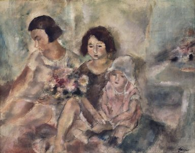 Jules Pascin (French, 1885-1930). <em>Three Girls</em>, ca. 1925. Oil on canvas, 28 5/8 x 36 3/16 in. (72.7 x 91.9 cm). Brooklyn Museum, Bequest of Samuel A. Lewisohn, 51.214 (Photo: Brooklyn Museum, 51.214_transp6267.jpg)