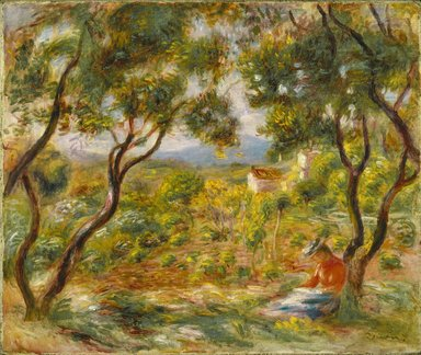 Pierre-Auguste Renoir (French, 1841-1919). <em>The Vineyards at Cagnes (Les Vignes à Cagnes)</em>, 1908. Oil on canvas, 18 1/4 x 21 3/4 in. (46.4 x 55.2 cm). Brooklyn Museum, Gift of Colonel and Mrs. Edgar W. Garbisch, 51.219 (Photo: Brooklyn Museum, 51.219_colorcorrected_SL1.jpg)