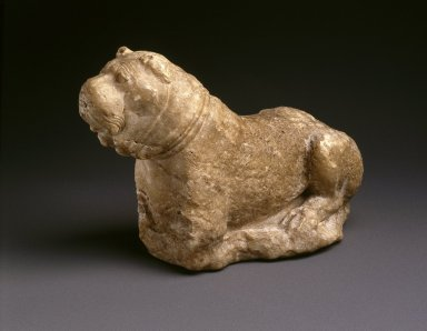 Sumerian. <em>Recumbent Dog</em>, ca. 2100 B.C.E. Aragonite, 5 3/4 x 3 3/4 x 9 in. (14.6 x 9.5 x 22.9 cm). Brooklyn Museum, Gift of Mr. and Mrs. Alastair B. Martin, the Guennol Collection, 51.220. Creative Commons-BY (Photo: Brooklyn Museum, 51.220_SL1.jpg)