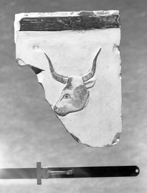 <em>Relief Representation of a Bull's Head</em>, 664-332 B.C.E. Limestone, pigment, 5 3/4 x 4 3/8 in. (14.6 x 11.1 cm). Brooklyn Museum, Charles Edwin Wilbour Fund, 51.225.1. Creative Commons-BY (Photo: Brooklyn Museum, 51.225.1_negA_bw_IMLS.jpg)