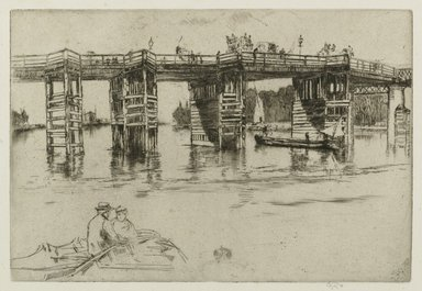 James Abbott McNeill Whistler (American, 1834-1903). <em>Old Putney Bridge</em>, 1879. Black ink on handmade laidpaper with a watermark and a countermark, Image: 8 x 11 3/4 in. (20.3 x 29.8 cm). Brooklyn Museum, Gift of Guy Mayer, 51.238.1 (Photo: Brooklyn Museum, 51.238.1_PS1.jpg)