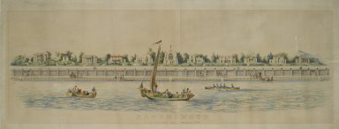 Nathaniel Currier (American, 1813-1888). <em>Ravenswood, Long Island, Near Hallet's Cove</em>, 19th century. Lithograph, hand colored, on wove paper, Image: 11 1/4 x 49 3/4 in. (28.6 x 126.4 cm). Brooklyn Museum, Dick S. Ramsay Fund, 51.239 (Photo: Brooklyn Museum, 51.239_PS2.jpg)