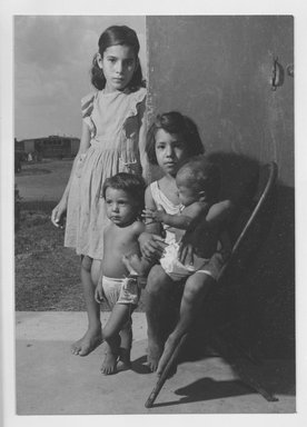 Walter Rosenblum (American, 1919-2006). <em>Spanish Refugee Children</em>, 1947. Chloro bromide photograph, 6 7/8 x 5 in.  (17.5 x 12.7 cm). Brooklyn Museum, Gift of Walter Rosenblum, 51.241.3. © artist or artist's estate (Photo: Brooklyn Museum, 51.241.3_acetate_bw.jpg)