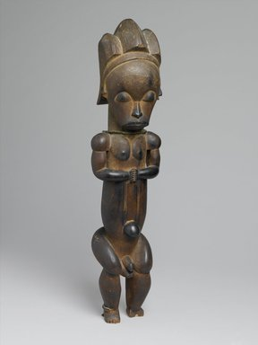Master of Ntem. <em>Reliquary Guardian Figure (Eyema-o-Byeri)</em>, mid-18th to mid-19th century. Wood, iron, 23 × 5 3/4 × 5 in. (58.4 × 14.6 × 12.7 cm). Brooklyn Museum, Frank L. Babbott Fund, 51.3. Creative Commons-BY (Photo: Brooklyn Museum, 51.3_PS1.jpg)