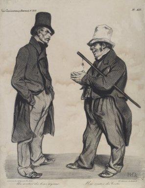 """Honoré Daumier (French, 1808-1879). <em>""""Un rentier des bons royaux--Un rentier des Cortes,""""</em> September 18, 1834. Lithograph on wove paper, Image: 11 1/2 x 9 3/4 in. (29.2 x 24.8 cm). Brooklyn Museum, Frank L. Babbott Fund, 51.4.1 (Photo: Brooklyn Museum, 51.4.1.jpg)"""