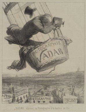 Honoré Daumier (French, 1808-1879). <em>Nadar Élevant la Photographie à la Hauteur de l'Art</em>, May 25, 1862. Lithograph on newsprint, Sheet: 13 1/4 x 9 3/4 in. (33.7 x 24.8 cm). Brooklyn Museum, Frank L. Babbott Fund, 51.4.3 (Photo: Brooklyn Museum, 51.4.3.jpg)