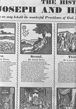 American. <em>Broadside: The History of Joseph and His Brethren</em>, ca. 1831. Woodcut on newsprint paper, sheet: 19 3/16 x 16 1/16 in. (48.8 x 40.8 cm). Brooklyn Museum, Dick S. Ramsay Fund, 51.57.1 (Photo: Brooklyn Museum, 51.57.1_acetate_bw.jpg)