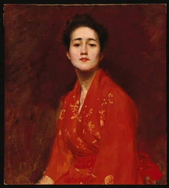 William Merritt Chase (American, 1849-1916). <em>Study of a Girl in Japanese Dress</em>, ca. 1895. Oil on canvas, 28 1/8 x 25 3/16 in. (71.4 x 64 cm). Brooklyn Museum, Gift of Mrs. Leon Griffiths, 51.60 (Photo: Brooklyn Museum, 51.60_SL1.jpg)