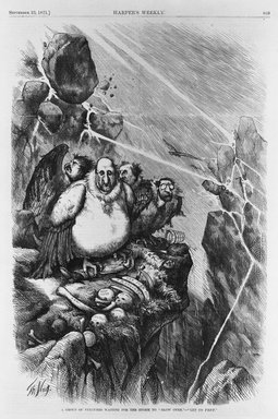 "Thomas Nast (American, 1840-1902). <em>A Group of Vultures Waiting for the Storm to ""Blow Over"" - ""Let Us Prey,""</em> 1871. Wood engraving on newsprint paper, Image: 13 11/16 x 11 1/4 in. (34.8 x 28.5 cm). Brooklyn Museum, Gift of the Brooklyn Museum Art School, 51.84 (Photo: Brooklyn Museum, 51.84_bw.jpg)"