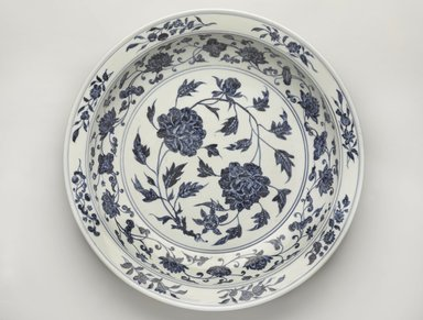 <em>Plate</em>, 1368-1644. Porcelain with underglaze, 2 3/4 x 15 1/2 in. (7 x 39.4 cm). Brooklyn Museum, Gift of Samuel P. Avery, by exchange, 51.85. Creative Commons-BY (Photo: Brooklyn Museum, 51.85_top_PS9.jpg)
