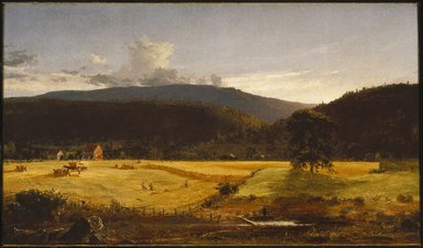 Jasper Francis Cropsey (American, 1823-1900). <em>Bareford Mountains, West Milford, New Jersey</em>, 1850. Oil on canvas, 23 1/16 x 40 1/16 in. (58.6 x 101.8 cm). Brooklyn Museum, Dick S. Ramsay Fund, 51.8 (Photo: Brooklyn Museum, 51.8_SL1.jpg)