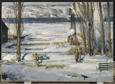 George Wesley Bellows (American, 1882-1925). <em>A Morning Snow--Hudson River</em>, 1910. Oil on canvas, 45 1/16 x 63 3/16 in. (114.5 x 160.5 cm). Brooklyn Museum, Gift of Mrs. Daniel Catlin, 51.96 (Photo: Brooklyn Museum, 51.96_PS1.jpg)