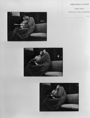 Arthur Leipzig (American, 1918-2014). <em>Subway Vignette in Sequence</em>. Photograph, Each: 4 1/2 x 6 in. (11.4 x 15.2 cm). Brooklyn Museum, Gift of the artist, 52.104a-c. © artist or artist's estate (Photo: Brooklyn Museum, 52.104a-c_acetate_bw.jpg)