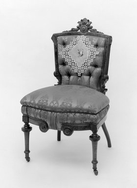 Thomas Brooks (American, 1811-1887). <em>Side Chair</em>, 1872. Walnut, modern upholstery, 38 1/4 x 23 x 17 1/2 in. (97.2 x 58.4 x 44.5 cm). Brooklyn Museum, Gift of Arthur W. Clement, 52.118. Creative Commons-BY (Photo: Brooklyn Museum, 52.118_bw.jpg)