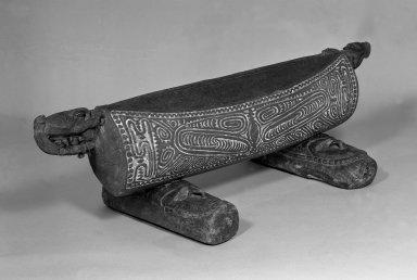<em>Drum (Garamut)</em>, 19th century. Wood, coir, pigment, 17 x 55 x 8 3/4 in. (43.2 x 139.7 x 22.2 cm). Brooklyn Museum, Carll H. de Silver Fund, 52.126a-c. Creative Commons-BY (Photo: Brooklyn Museum, 52.126a-c_acetate_bw.jpg)