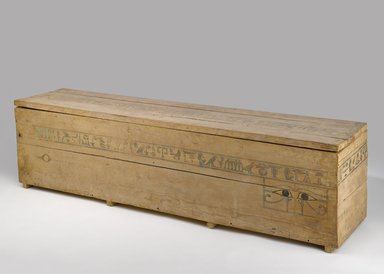 <em>Coffin and Cover of Princess Mayet</em>, ca. 2008-1957 B.C.E. Wood (Mediterranean cypress - Cupressus sempervirens, Syramore fig - ficus sycomorus, tamarisk - Tamarix sp.), pigment, 19 × 15 1/2 × 72 in. (48.3 × 39.4 × 182.9 cm). Brooklyn Museum, Charles Edwin Wilbour Fund, 52.127a-b. Creative Commons-BY (Photo: Brooklyn Museum, 52.127a-b_PS9.jpg)