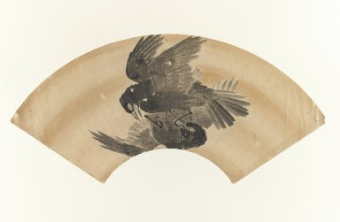 <em>[Untitled] (Fan-shaped Drawing of Two Birds)</em>, 1603-1868. Fan painting, ink on paper, 7 7/8 x 9 in. (20 x 22.8 cm). Brooklyn Museum, Anonymous gift, 52.14.1. Creative Commons-BY (Photo: Brooklyn Museum, 52.14.1_IMLS_PS3.jpg)