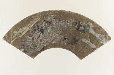 <em>[Untitled] (Fan-shaped Painting of Ladies Sitting in a Pavillion Playing a Game)</em>, 1603-1868. Color on paper, 7 5/16 x 8 7/8 in. (18.5 x 22.5 cm). Brooklyn Museum, Anonymous gift, 52.14.3. Creative Commons-BY (Photo: Brooklyn Museum, 52.14.3_IMLS_PS3.jpg)