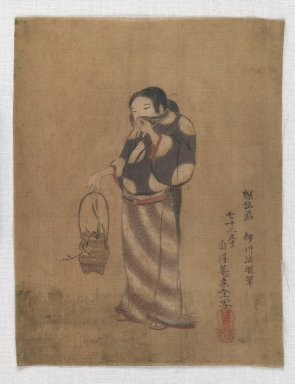 <em>[Untitled] (Woman Holding Vessel Containing Plant)</em>, 17th century. Color on silk, 8 1/4 x 6 7/16 in. (21 x 16.3 cm). Brooklyn Museum, Anonymous gift, 52.14.5 (Photo: Brooklyn Museum, 52.14.5_IMLS_PS3.jpg)