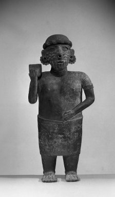 Nayarit. <em>Large Standing Figure</em>, 300 BCE - 200 CE. Ceramic, pigment, 22 13/16 × 10 7/16 in. (58 × 26.5 cm). Brooklyn Museum, Frank L. Babbott Fund, 52.159. Creative Commons-BY (Photo: Brooklyn Museum, 52.159_acetate_bw.jpg)