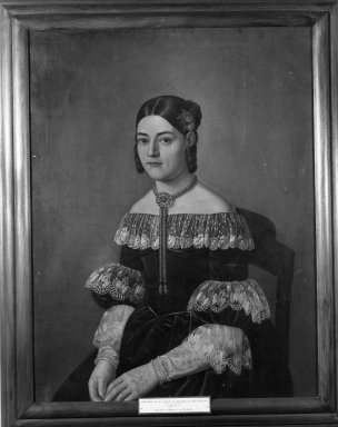 Unknown. <em>Portrait of Doña María de los Angeles de Cervantes Ozta y de Velasco</em>, ca. 1835. Oil on canvas, 32 1/2 x 24 13/16 in. (82.5 x 63 cm). Brooklyn Museum, Museum Collection Fund and Dick S. Ramsay Fund, 52.166.12 (Photo: Brooklyn Museum, 52.166.12_framed_acetate_bw.jpg)