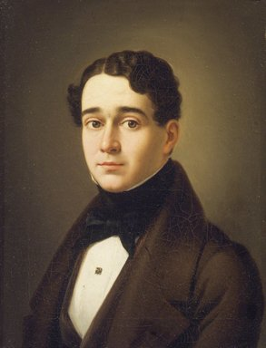 Pelegrín Clavé y Roqué (Spanish, active in Mexico 1846-1867, 1811-1880). <em>Portrait of Don Ignacio Cecilio Algara Gómez de la Casa</em>, late 1840s. Oil on canvas, Image: 16 1/8 x 5 1/4 in. (41 x 13.3 cm). Brooklyn Museum, Museum Collection Fund and Dick S. Ramsay Fund, 52.166.13 (Photo: Brooklyn Museum, 52.166.13.jpg)
