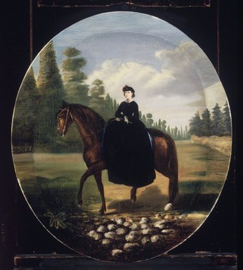 Attributed to follower of Édouard Pingret (French, 1788-1875). <em>Portrait of Doña María Josefa Romero de Terreros y Gómez de Parada</em>, ca. 1865. Oil on canvas, Oval:  22 x 18 1/4 in.  (55.9 x 46.4 cm). Brooklyn Museum, Museum Collection Fund and Dick S. Ramsay Fund, 52.166.16 (Photo: Brooklyn Museum, 52.166.16.jpg)