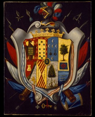Mexican. <em>Coat of Arms of the Gómez de Cervantes y Altamirano de Velasco Family</em>, ca. 1802. Oil on canvas, 37 1/8 x 28 3/4in. (94.3 x 73cm). Brooklyn Museum, Museum Collection Fund and Dick S. Ramsay Fund, 52.166.18 (Photo: Brooklyn Museum, 52.166.18_SL3.jpg)