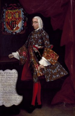 Miguel Cabrera (Mexican, 1695-1768). <em>Don Juan Xavier Joachín Gutiérrez Altamirano Velasco, Count of Santiago de Calimaya</em>, ca. 1752. Oil on canvas, 81 5/16 x 53 1/2 in. (206.5 x 135.9 cm). Brooklyn Museum, Museum Collection Fund and Dick S. Ramsay Fund, 52.166.1 (Photo: Brooklyn Museum, 52.166.1_SL3.jpg)