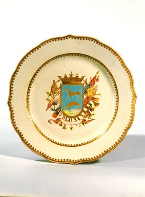 <em>Platter</em>, ca. 1770. Porcelain, 1 1/2 x 13 7/8 in. (3.8 x 35.2 cm). Brooklyn Museum, Museum Collection Fund and Dick S. Ramsay Fund, 52.166.24. Creative Commons-BY (Photo: Brooklyn Museum, 52.166.24_SL4.jpg)