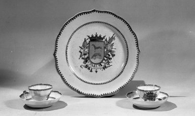<em>Plate</em>, ca. 1770. Porcelain, 8 7/8 in. Brooklyn Museum, Museum Collection Fund and Dick S. Ramsay Fund, 52.166.36. Creative Commons-BY (Photo: Brooklyn Museum, 52.166.36_52.166.38_52.166.39_52.166.41_52.166.42_acetate_bw.jpg)