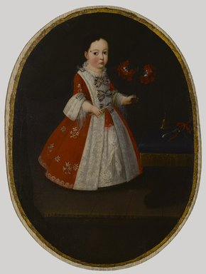 Attributed to Nicolás Enríquez (Mexican, active 1730-1768). <em>Doña María de la Luz Padilla y Gómez de Cervantes</em>, ca. 1735. Oil on canvas, Oval: 35 3/8 x 26 in. (89.9 x 66 cm). Brooklyn Museum, Museum Collection Fund and Dick S. Ramsay Fund, 52.166.3 (Photo: Brooklyn Museum, 52.166.3_PS6.jpg)